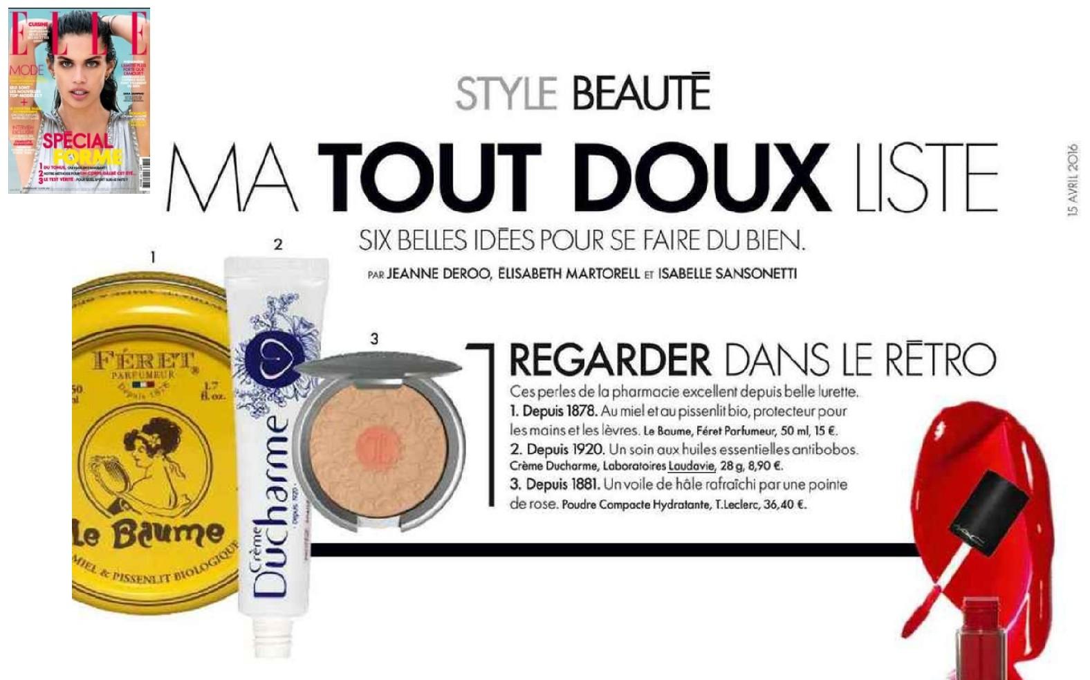 Crème Ducharme Parution ELLE - Avril 2016
